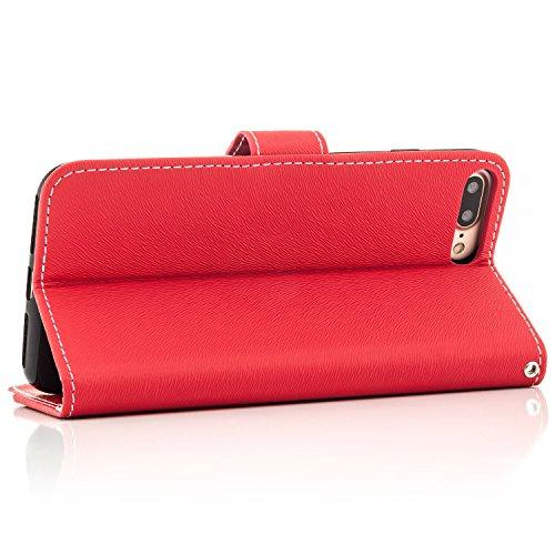 Saxonia Flip Case Tasche Apple iPhone 6 Plus / 6S Plus Hülle Schutzhülle Elegante Handytasche mit Kartenfach Standfunktion Braun-Weiß Rot-Weiß