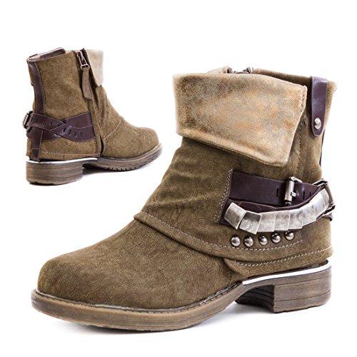 Stylische Damen Biker Boots Metallic Stiefeletten Stiefel mit Schnallen und Nieten Khaki Milan