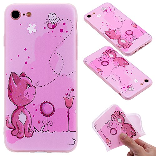 Cover iphone 7 / iphone 8 , iphone 7 / iphone 8 custodia , Cozy Hut iphone 7 / iphone 8 cover Morbido TPU Custodia [Ultra sottile] [Leggera] [Assorbimento-Urto] Paraurti in TPU Morbida Protettiva Case Gatto rosa