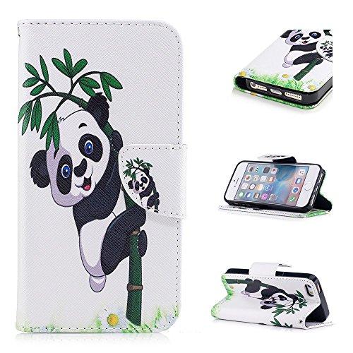 Custodia per iPhone SE / iPhone 5S / iPhone 5, Hancda Modello Elegante Disegni Cover Funzione Stand Custodia in Pelle Portafoglio di Cuoio Libro Sottile Flip Case Protettiva Chiusura Magnetica Antiurt A Panda