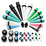 JSDDE Piercing,40x Set Acryl Piercing Set Bunt Taper Dehnstab Flesh Ohr Plugs Mixed Farbe Expander Kit Ohrpiercing,1.6-12MM