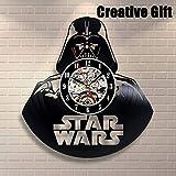 Reloj de Pared Hogar Creativo,Disco de Vinilo Hecho a Mano de Vinilo Reloj de Pared Star Wars Boba Fett 3D de Reloj de Pared——El Regalo Creativo,Black