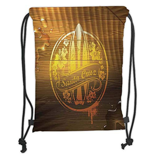 string Backpacks Bags,Surf Decor,Surfboard Illustration with Flowers Riding Waves on The Surface of The Water Theme,Brown Yellow Orange Soft Satin,5 Liter Capacity,Adjustable S ()