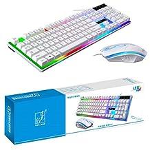 لوحة مفاتيح زد جي بي موديل جي 21 يتم توصيلها بيو اس بي، لوحة سلكية للالعاب، مع ماوس ليد متعددة الألوان، ذات ملمس ميكانيكي كمبيوتر وضوء للازرار، مجموعة من لوحة مفاتيح وماوس، لون اسود