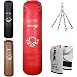 TurnerMAX Genuine Cowhide Leather Boxing Punch Bag Heavy FILLED with Free Chain and Bag Gloves Kickboxing punching bag Red (5 Feet)