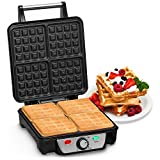 Andrew James Belgian Waffle Maker - Electric Iron with Large Deep Square Non Stick Plates - Perfect for breakfast waffles and brunch ideas (4 Slice)