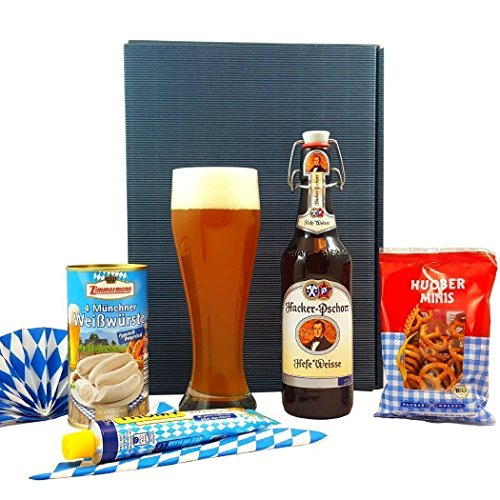 BAYERN GESCHENK-SET OKTOBERFEST | Hacker Pschorr, Glas, Weißwürste, süßer Senf, Brezeln | Geschenke für Männer und Frauen, Geschenkbox, Geschenkkorb, Bier-Geschenk, bayrisches Geschenk