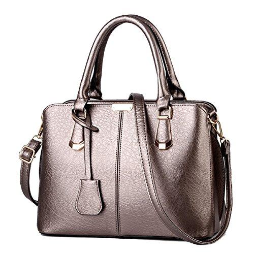 ADEMI Damenhandtaschen Aus Leder Damen Wasserdichte Umhängetasche Tragetaschen,Silver-OneSize