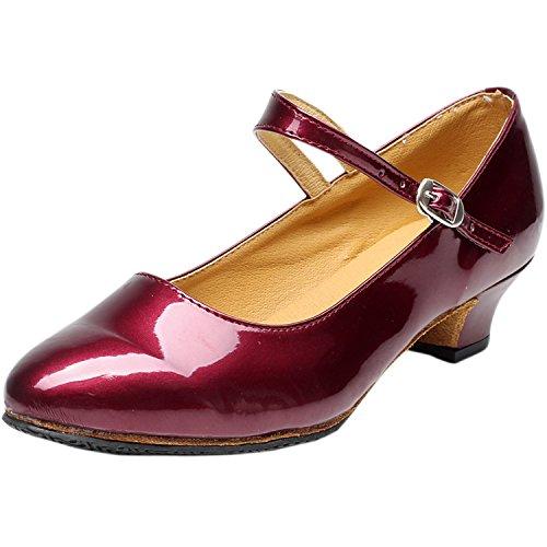 Oasap Damen Latin Tanz High Heel Sandalen Burgundy-2