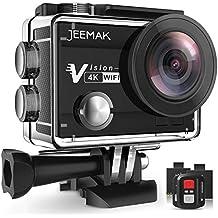 Versión JEEMAK Cámara Deportiva 4K WiFi HD 16MP Impermeable Cámara de Acción con Control Remoto 2.4