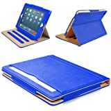"""MOFRED® Blue & Tan Apple iPad Air (Launched November 2013) Leather Case-MOFRED®- Executive Multi Function Leather Standby Case for Apple New iPad Air with Built-in magnet for Sleep & Awake Feature -- Independently Voted by """"The Daily Telegraph"""" as #1 iPad Air Case!"""