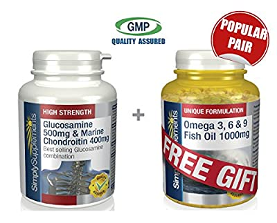 Simply Supplements Glucosamine 500mg with Chondroitin 400mg 120 Capsules + FREE GIFT Omega 3 6 & 9 30 Capsules from Simply Supplements
