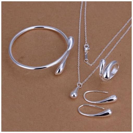 SavingMart 925 Sterling Silver Plated Teardrop Earrings Pendant Bracelet Ring Necklace 4pcs Jewelry Set
