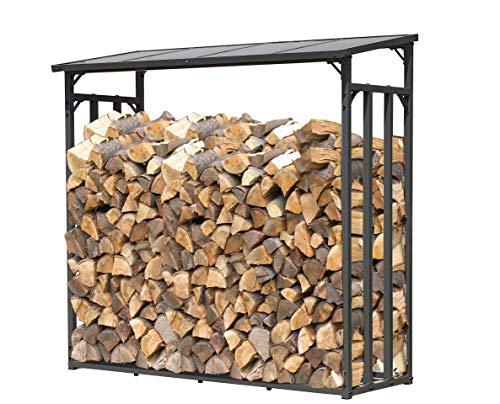 Quick-Star Metall Kaminholzregal Anthrazit XXL 185 x 70 x 185 cm Garten Kaminholzunterstand 2,3 m³ Kaminholzlager Stapelhilfe Aussen