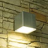 LED Wandleuchte CUBE, Außenleuchte, Außenlampe, Edelstahl, IP44, 230V, Warmweiß (1-Flammig)