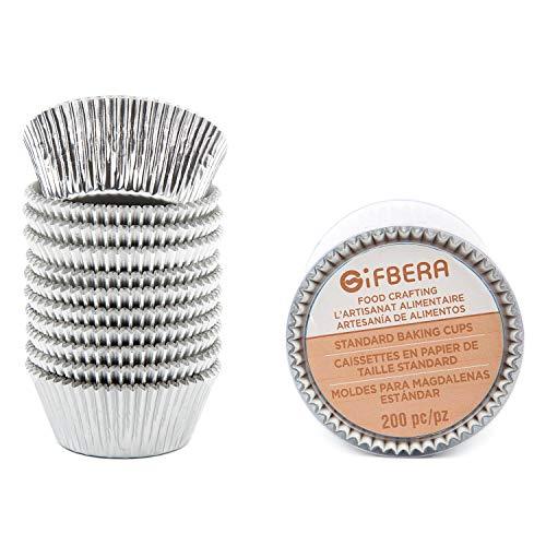 Gifbera Muffin-Cupcake-Förmchen, Metallfolie, Durchmesser 5 cm, 200 Stück silber