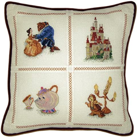 M C G Textiles 14 x 14-inch Disney Dreams Collection Beauty and the Beast Counted Cross Stitch Pillow