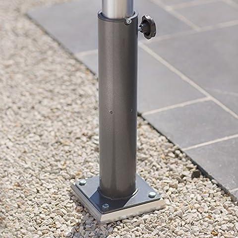 GARD&ROCK - Pied amovible en aluminium pour parasol déporté - Multi-terrains à insérer sur la base d