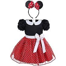 iEFiEL Vestidos de Princesa Fiesta Bautizo para Bebés Niñas Disfraces Infantiles de Navidad Carnaval con Lunares (9 Meses-4 Años)