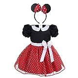 IEFIEL Vestidos de Princesa Fiesta Bautizo para Bebés Niñas Disfraces Infantiles de Navidad Carnaval con Lunares (9 Meses-4 Años) Rojo 2-3 Años