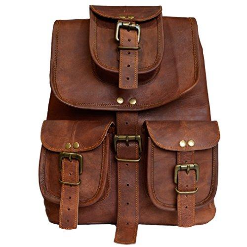 Vintage Leder Rucksack handgefertigt aus echtem Ziegenleder lässig braunen Daypack School College Bag Herren Damen - Handgefertigtes Leder-rucksäcke