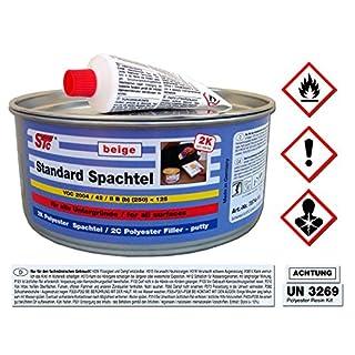 STC 2K kfz Spachtelmasse 1 kg Auto Standard Spachtel Beige Karosserie Polyester Füllspachtel Dose inkl. Härter (1 kg Dose)