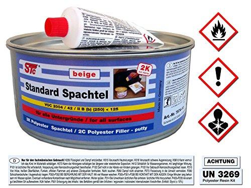 Preisvergleich Produktbild STC 2K kfz Spachtelmasse 1 kg auto Standard Spachtel beige Karosserie Polyester Füllspachtel Dose inkl. Härter (1 kg Dose)