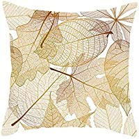 BBestseller Soft Velvet Funda de Almohada, Dorado Hojas Imprimiendo Sofá Dormitorio Funda de cojín Pillow