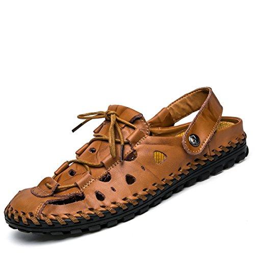 Lxxamens Été Mâle Plage Pantoufle En Cuir Véritable Chaussures De Randonnée Sandales Chaussures De Sport Deux Utilisations Brun