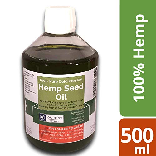 OURONS Aceite de cáñamo Perros, 500 ml de Aceite Crudo y Virgen