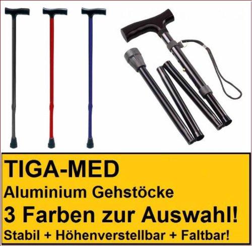 BASTONE DA PASSEGGIO krueckstock bastone da passeggio in alluminio pieghevole Nero 1pezzi bastone da passeggio stampella tiga-med bastoni da passeggio stampelle krueckstoecke