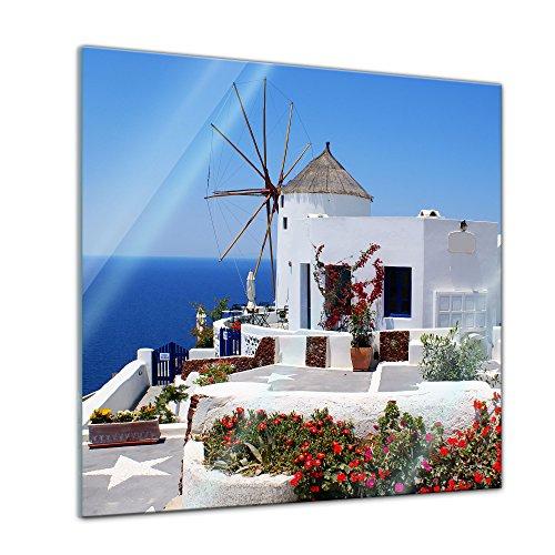 Glasbild - Griechische Mühle - 20 x 20 cm - Deko Glas - Wandbild aus Glas - Bild auf Glas - Moderne Glasbilder - Glasfoto - Echtglas - kein Acryl - Handmade