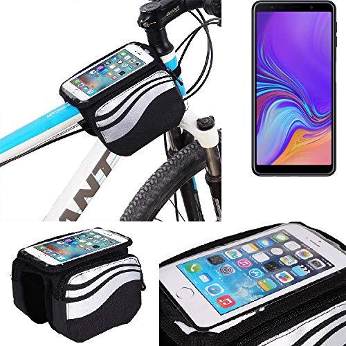 K-S-Trade Rahmentasche für Samsung Galaxy A7 (2018) Rahmenhalterung Fahrradhalterung Fahrrad Handyhalterung Fahrradtasche Handy Smartphone Halterung Bike Mount Wasserabweisend, Silber-schwarz