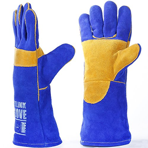 Leder Schweißen Handschuhe von leaseek–hitzebeständig & Flammschutzmittel Arbeitshandschuhe & Kamin Handschuh & Grill & BBQ Handschuhe, schwere Pflicht, blau–40,6cm