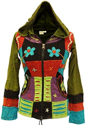 Shopoholic Mode Damen Pixie jacke mit kapuze mit zerschnitten und stickerei abschnitt - Bunt, S, Mehrfarbig