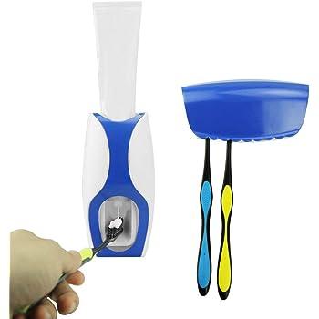 Bigwinner Dispenser automatico unico per dentifricio da montare alla parete, comprensivo di porta-spazzolini blu