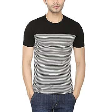 Lowcha Men's Cotton Black Dual Striped Round Neck T-shirt Extra Large