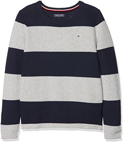 Tommy Hilfiger Jungen Pullover Preppy Stripe CN Sweater Schwarz (Black Iris 002) 152 (Herstellergröße: 12)