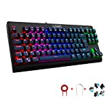 Mechanical Keyboard UK Layout, GooBang Doo Game Keyboards RGB Backlit 88 Keys Programmable Customization Anti-Ghost Blue Switch Waterproof Keyboard for Games with 5 changable Switches and key Cap Pull