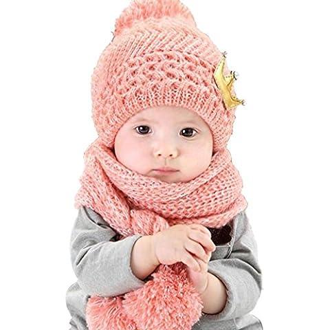 Tefamore 1 juego Bufanda caliente de la capilla de lana + casquillos Sombreros de invierno para