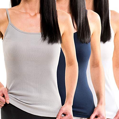 HERMKO 1560 3er Pack Damen Träger Top aus 100% Baumwolle, Größe:44/46 (L), Farbe:Mix w/m/g (Damen Unterwäsche, Tops Lange)