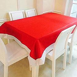 Navidad Manteles Festivos - Modun Cena Roja Tabla Cubierta Santa Claus Holiday Nouveau Familia Xmas Decoración (rojo de Navidad, 204 x 132cm)