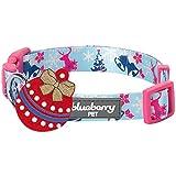 Blueberry Pet Festtagsfreude Wintertraum Himmelblaues Designer Hundehalsband, S, Hals 30cm-40cm, Verstellbare Halsbänder für Hunde