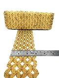 #10: Crisskross Gotta Patti Lace Border, Cut Work/Zari/Copper/Designer for Dress/Sarees/Lehenga/Suits/Blouses and Craft 7cm X 9m