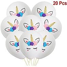 Clerfy Acc Globos 20 Unidades Diseño Unicornio Ideal para Cumpleaños o Fiestas.