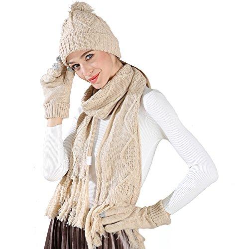 Stricken Mütze Schal Handschuhe Set-Frauen Männer Unisex Zopfmuster Winter kaltes Wetter Geschenkset (Beige) (Stricken Handschuh Unisex)