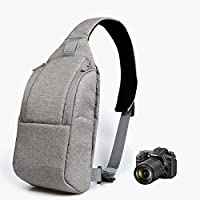 RUBRIC® Camera Bag Sling Bag, Camera Case Waterproof with Modular Inserts Tripod Holder for DSLR/SLR and Mirrorless Cameras (Canon Nikon Sony Pentax) (Gray)