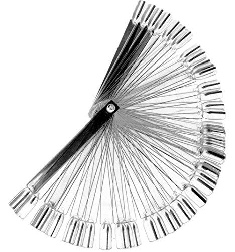 Ruikey Presentoir en Eventail Présentoir Faux Ongles 50pcs Batonnets Transparent Nail Art Outil Présentoir Faux Ongles