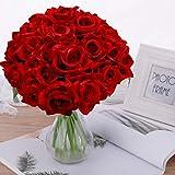 Pauwer 2pcs / 18 Fleurs Artificielles de Tête Bouquet de Rose, Faux Soie Floral Rose Fleurs pour DIY Accueil Nuptiale Fête De Mariage Festival Bar Décoration Jardin