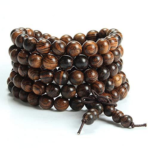 Epoch World 8mm-108 Bracelet Perles en Bois de Santal Naturel Collier/Bracelet Chaîne Chapelet Perles Tibétain Bouddhiste Bouddha Mala Élastique Pierres Bracelet Homme Femme